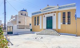 Panorama photo of old buildings and church in Pyrgos, santorini, greece stock images