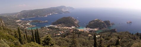 Panorama photo of Paleokastritsa beach in Corfu Royalty Free Stock Photography