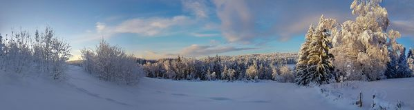 Panorama photo of winter landscape in Hedmark county. Panorama photo of winter landscape in Hedmark. Panoramic winter scene in january. Snowy winter landscape royalty free stock image