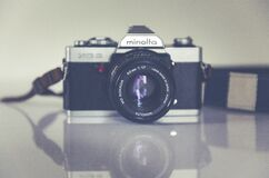 Panorama Photography of Black and Grey Minolta Camera Royalty Free Stock Photography