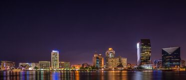 Panorama Photography of City at Night Royalty Free Stock Image