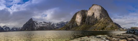 Panorama Photography of Hamnoy, Reine, Lofoten Island stock image