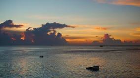 Panorama piękny zmierzch morzem Timelapse zbiory wideo