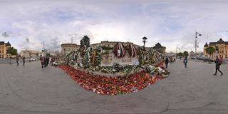 National Mourning after the decease of Michael I at the Royal Palace in Bucharest, Romania. 360 panorama of Piata Revolutiei with Heaps of flowers, candles and Stock Photography