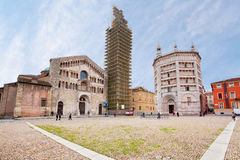 Panorama of Piazza del Duomo, Parma, Italy Royalty Free Stock Images