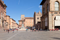 Panorama of Piazza del Nettuno in Bologna. BOLOGNA, ITALY - OCTOBER, 31: panorama of Piazza del Nettuno.The Nettuno fountain was designed by architect Tommaso stock image