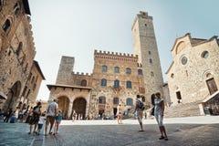 Panorama of Piazza della Cisterna, San Gimignano, Tuscany, Italy Royalty Free Stock Photos