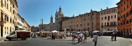 panorama- piazzasikt för navona Royaltyfria Bilder