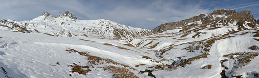 Panorama of Pic du midi d'Ossau and Valley in winter from Portal stock images