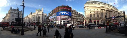 Panorama of picadilly circus, London Royalty Free Stock Photo