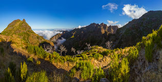 Panorama - Pico Ruivo and Pico do Arierio - Madeira Portugal Royalty Free Stock Photos