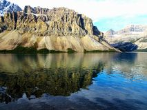 Panorama picture of the Canadian Bow Lake in the Rocky Mountains in Banff national Park in Alberta, Canada. Beautiful Panorama picture of the Canadian Bow Lake stock photography