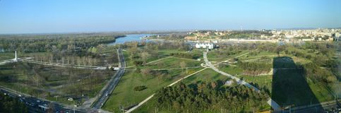 Panorama picture of the confluence of the Sava river and the Danube river in Belgrade, Serbia. A panorama view towards the the confluence of the Sava river and stock photo