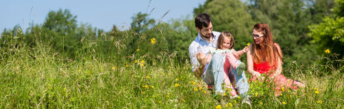 Panorama picture of family with mom, dad and daughter. On meadow royalty free stock image