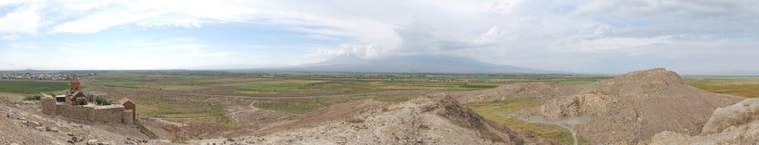 Panorama picture of Khor Virap monastery Stock Photo