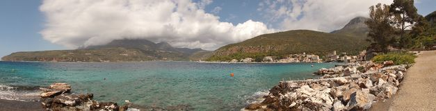 Panorama picture of the Limeni Bay in the Inner Mani, Peloponnese, Greece. royalty free stock photos