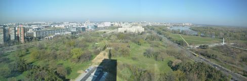 Panorama picture of New Belgrade, Serbia. A panorama view towards New Belgrade, Serbia. As seen from Usce tower, visible are Usce friendship park, the west gate royalty free stock photography