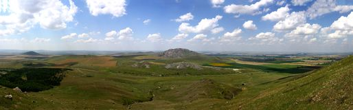 Panorama picture of the oldest mountains in Romania Stock Images