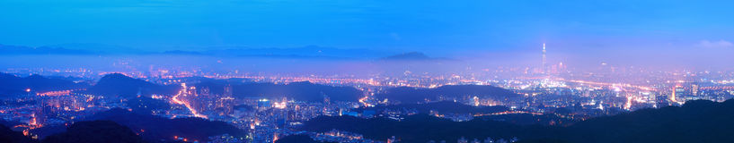 Panorama Picture of Taipei City at Night Stock Images