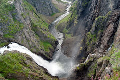 Panorama picture of Voeringfossen waterfall royalty free stock photo