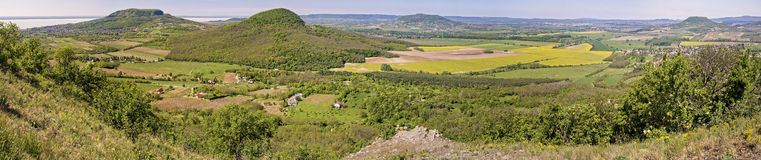 Panorama picture from the volcanoes in Hungary, near the lake Ba Stock Photos