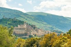 Panorama of picturesque historic city Assisi in Perugia region in Italy royalty free stock photo