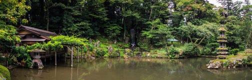Panorama of the picturesque Kenroku-en gardens, Kanazawa, Ishikawa, Japan. Kenroku-en located in Kanazawa, Ishikawa, Japan, is an old private garden. Along with royalty free stock images