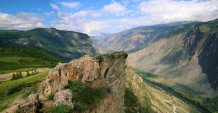 Panorama of picturesque mountain  remote district in summer day, Altai Katu Yaryk pass