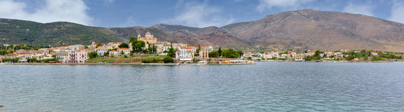 Panorama of the picturesque town of Galaxidi, Phocis, Greece stock photography