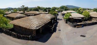 Panorama piega del villaggio di Seongeup, Jeju, Corea Fotografie Stock Libere da Diritti