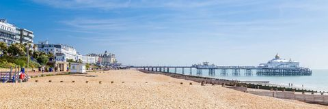 Panorama with pier and promenade Eastbourne, Sussex, United K Royalty Free Stock Photography
