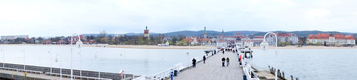 Panorama of pier and shore Stock Images