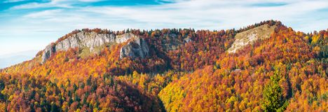 Panorama of Pietrele Negre rock formation in Arieseni. Gorgeous location of Apuseni Natural Park in Romania royalty free stock image