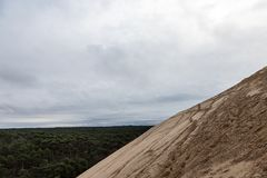 Panorama of the Pilat Dune Dune du Pilat during a cloudy afternoon with the Landes Forest Foret des Landes, made of pine trees Stock Images