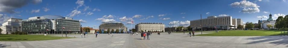 Panorama of Pilsudskiego square in Warsaw Stock Photo
