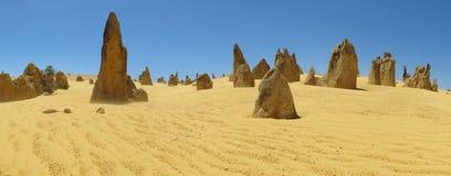 Panorama of Pinnacles Desert, Nambung National Park, West Australia Royalty Free Stock Photo