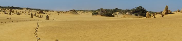 Panorama of Pinnacles Desert, Nambung National Park, West Australia. Beautiful Pinnacles Desert, Nambung National Park, West Australia royalty free stock photo