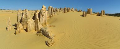Panorama of Pinnacles Desert, Nambung National Park, West Australia Stock Photos