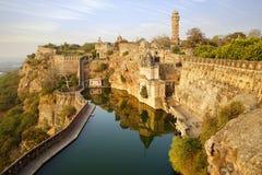 Panorama pintoresco de la fortaleza de Cittorgarh, la India Imágenes de archivo libres de regalías