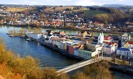 Panorama pintoresco de Passau. Alemania Foto de archivo libre de regalías