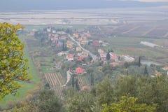 Panorama Piran adriático de Eslovenia del ovlje del  de SeÄ, meditrean foto de archivo libre de regalías