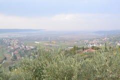 Panorama Piran adriático de Eslovenia del ovlje del  de SeÄ, meditrean imagen de archivo libre de regalías