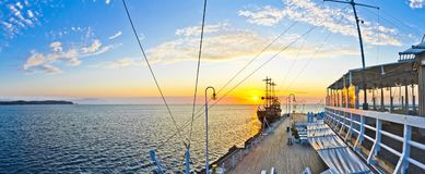 Pirate Ship by the Pier on the Baltic Sea in Sopot - Poland. Panorama and Pirate Ship by the Pier on the Baltic Sea in Sopot - Poland stock image