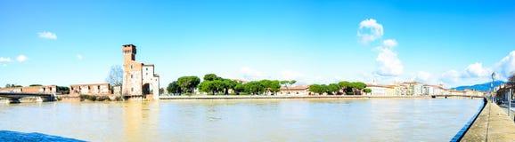 Panorama- pisa, lungarnos Royaltyfria Bilder