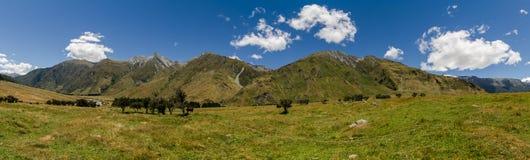 Panorama - pista de Rob Roy, Nueva Zelandia Imagenes de archivo