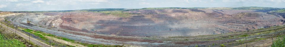 Panorama of pit mine Royalty Free Stock Photo