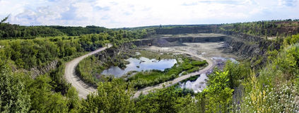 Panorama, - a pit on production of a granite stone Royalty Free Stock Photos