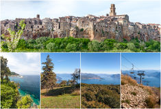 Panorama of the Pitigliano - city on clif in Italy. And Lago Maggiore, collage Royalty Free Stock Photography