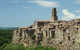 Panorama of Pitigliano, Italy Stock Images
