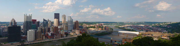 Panorama of the Pittsburgh city center Stock Photos